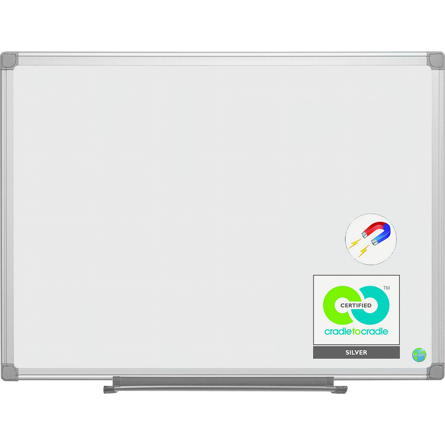 Bi-silque S.a Mastervision Earth It! Dry-erase Board - 48 (4 Ft) Width X 36 (3 Ft) Height - White Porcelain Steel Surface - White Aluminum Frame - Rectangle - 1 Each