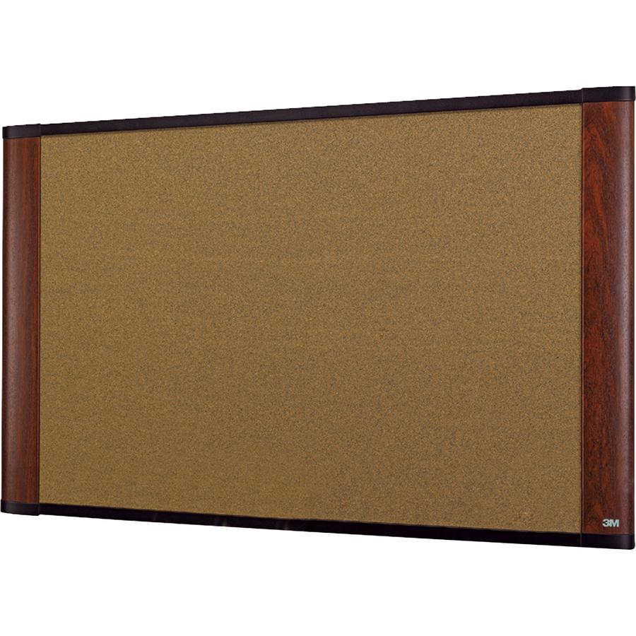 3M Standard Cork Bulletin Board - 36 Height X 24 Width - Warp Resistant - Mahogany Wood Frame - 1 Each