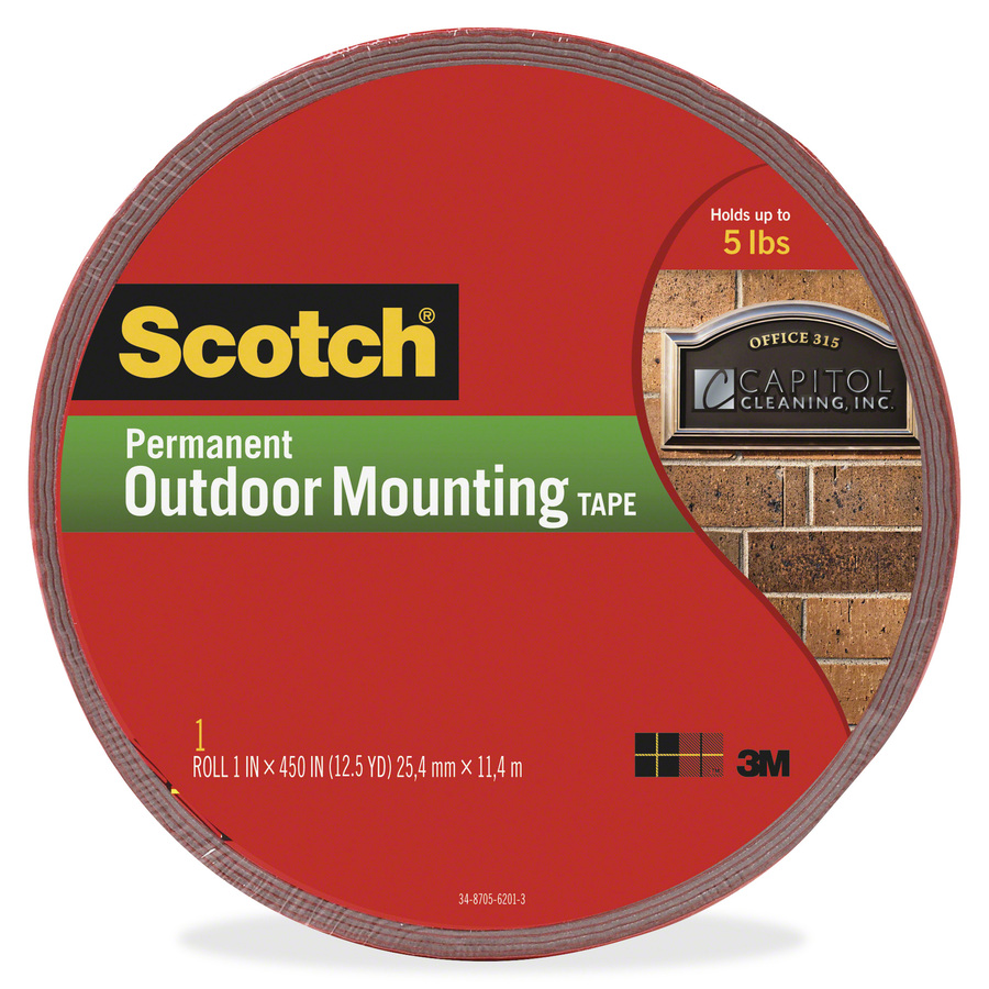 scotch exterior weather resistant double sided tape with red liner servmart. Black Bedroom Furniture Sets. Home Design Ideas