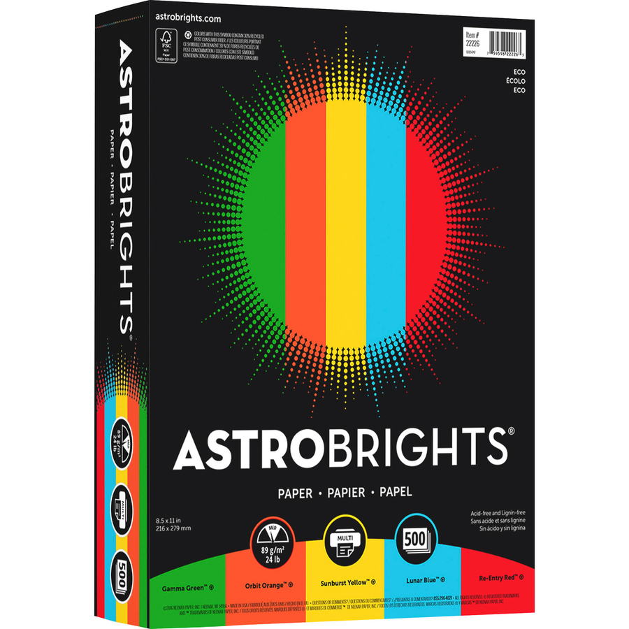 astrobrights paper When you need to stand out with high-impact colors, astrobrights® colored paper is a great choice it's 20% thicker and more substantial than ordinary printer paper, so you can achieve great results for one- and two-sided documents plus, because the colored copy paper creates a vibrant background, you'll save on pricey.