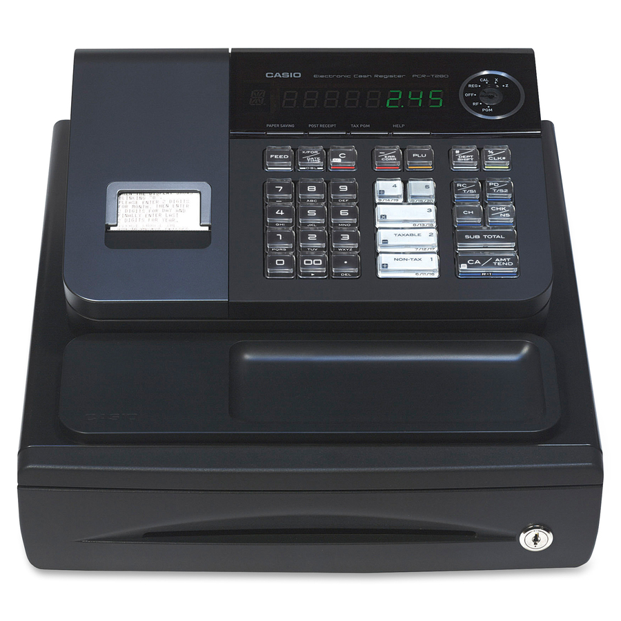 Image for Casio Computer Co., Ltd Casio PCR-T280 High-speed Printer Cash Register - 1200 Plus - 8 Clerks - 20 Departments - Thermal Printing