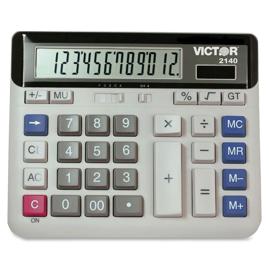 Victor 12 Digit Xl Lcd Desktop Calculator Vct2140 Four Keypad Operated Switch Independent Memory Digits