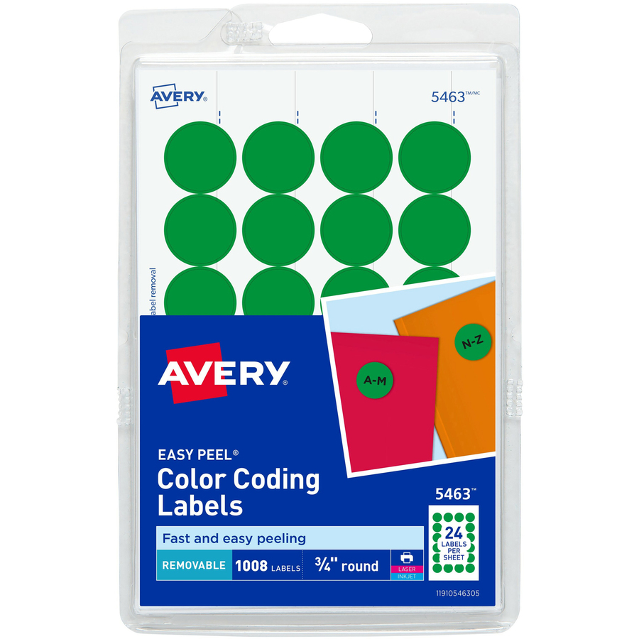 Adhesive 24-Up Round Labels, measure (1 5/8