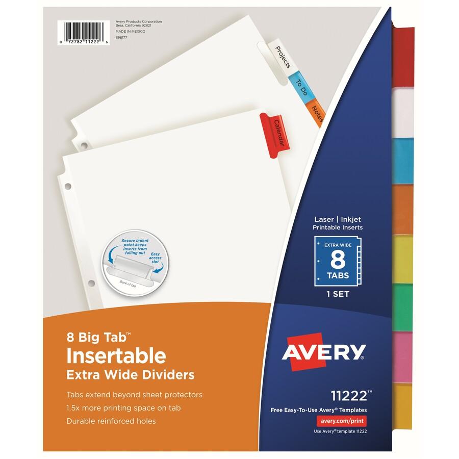 Avery big tab extra wide white insertable dividers clear original saigontimesfo