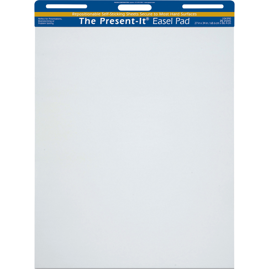 Pacon Corporation The Present-it Easel Pads - 25 Sheets - Plain - Unruled - 20 Lb Basis Weight - 27 X 34 - White Paper - Self-stick, Perforated, Repositionable, Bleed Resistant, Removable, Residue-free, Built-in Carry Handle, Recyclable, Hole-punched, Sel