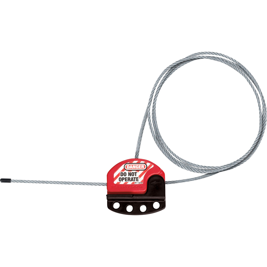 master lock adjustable cable lockout - black  red - plastic - 6 ft