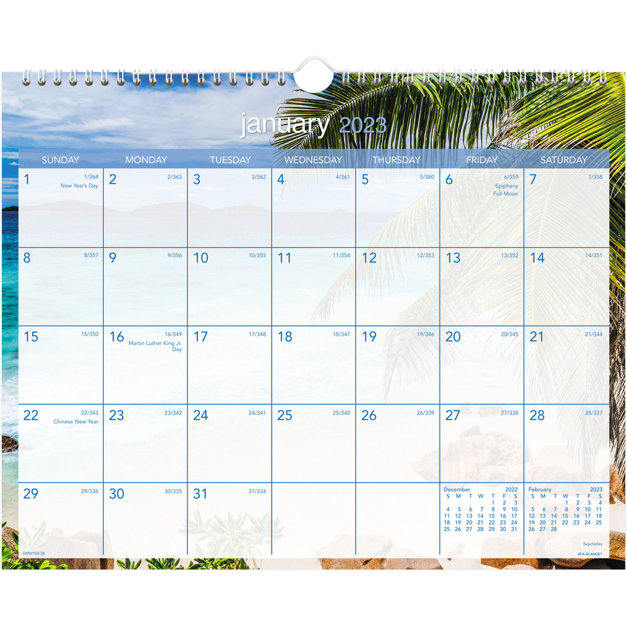 Monthly Wall Calendar : At a glance tropical escape wall calendar aagdmwte