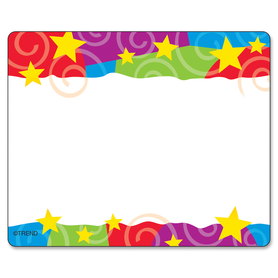 Trend Stars Amp Swirls Colorful Self Adh Name Tags