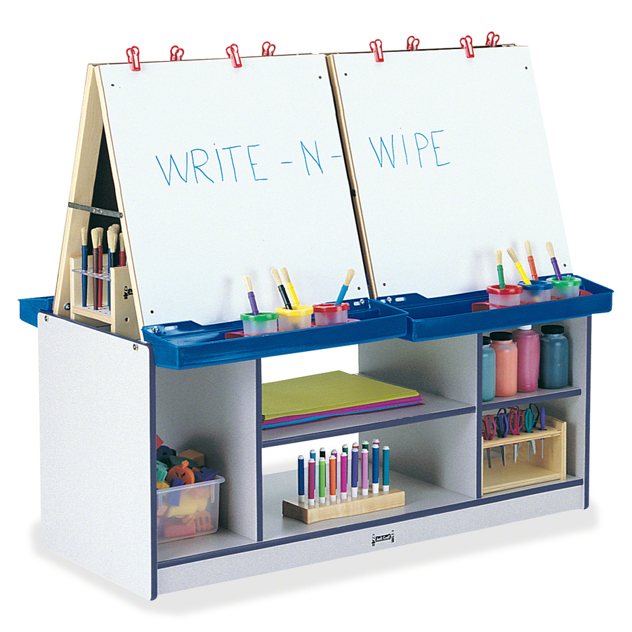 Jonti-craft, Inc Jonti-craft Rainbow Accents 4 Station Art Center - Freckled Gray, Navy Standard - Floor Standing - Assembly Required - 1 Each