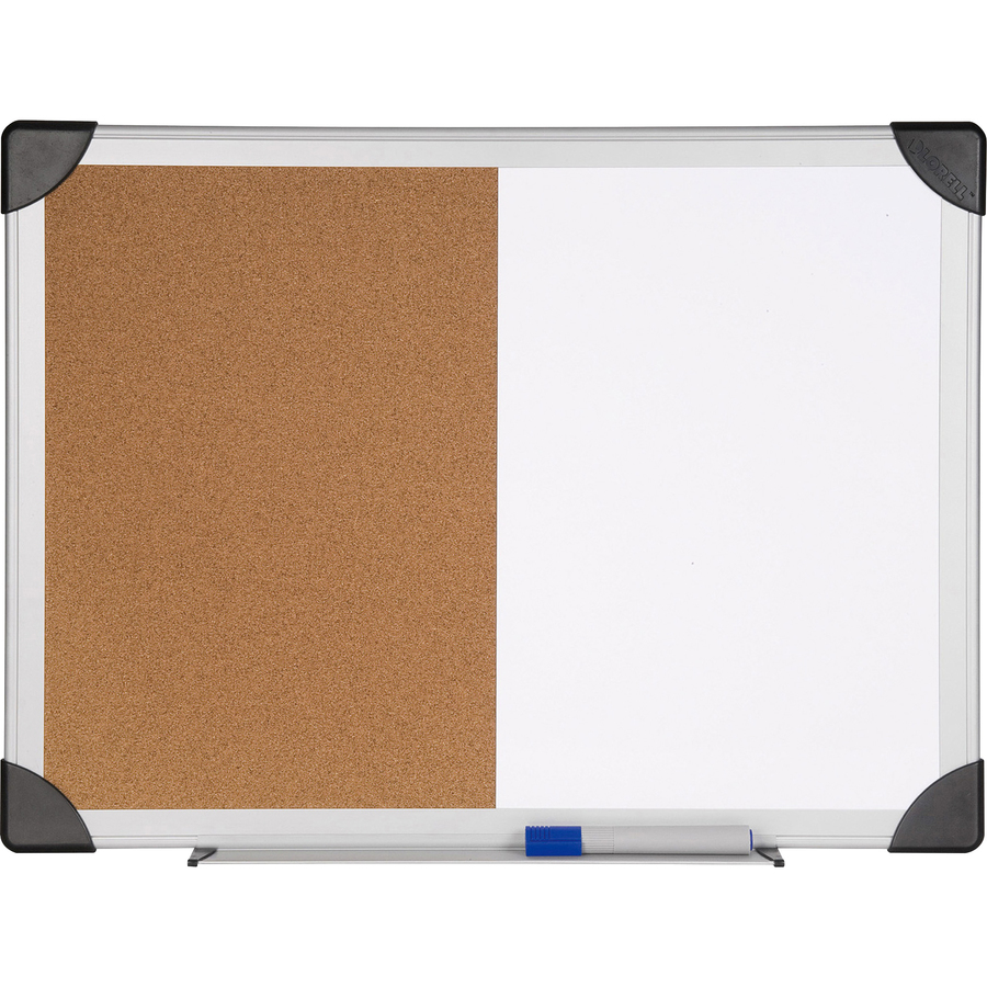 Lorell Dry Erase Aluminum Frame Cork Combo Boards - 24 Height X 36 Width - Natural Cork Surface - Self-healing - Aluminum Frame - 1 Each