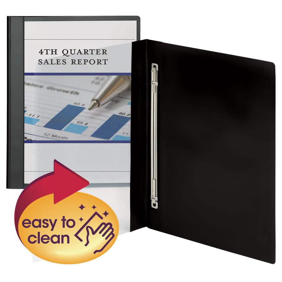Smead Manufacturing Company Smead Clear Front Poly Report Covers - 1/2 Folder Capacity - Letter - 8 1/2 X 11 Sheet Size - 100 Sheet Capacity - 1 Fastener(S) - Polypropylene - Black, Clear - 10 / Pack