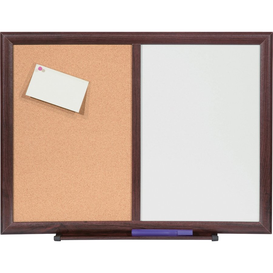 Lorell Dry-erase/bulletin Combo Board - 36 (3 Ft) Width X 48 (4 Ft) Height - Melamine Surface - Mahogany Wood Frame - 1 Each