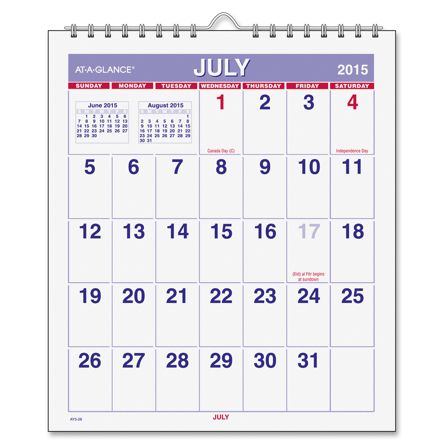 At-A-Glance Wirebound Monthly Mini Wall Calendar - AAGAY528 ...