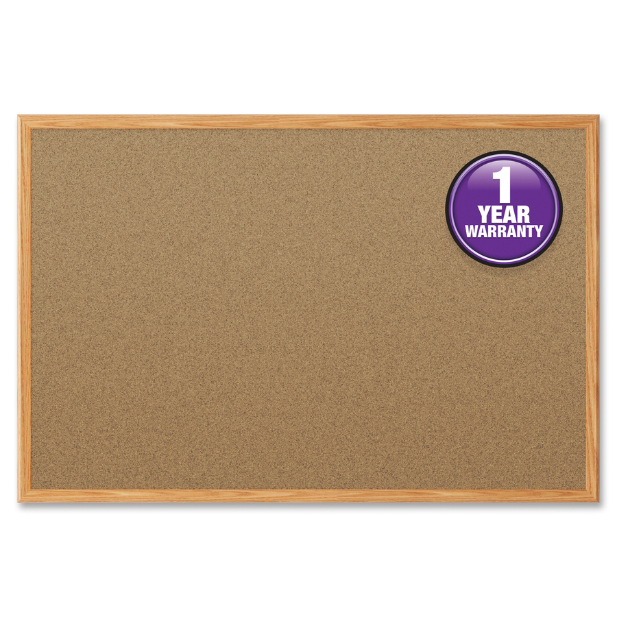 Acco Brands Corporation Mead Cork Surface Bulletin Board - 24 Height X 18 Width - Natural Cork Surface - Self-healing - Oak Aluminum Frame - 1 Each