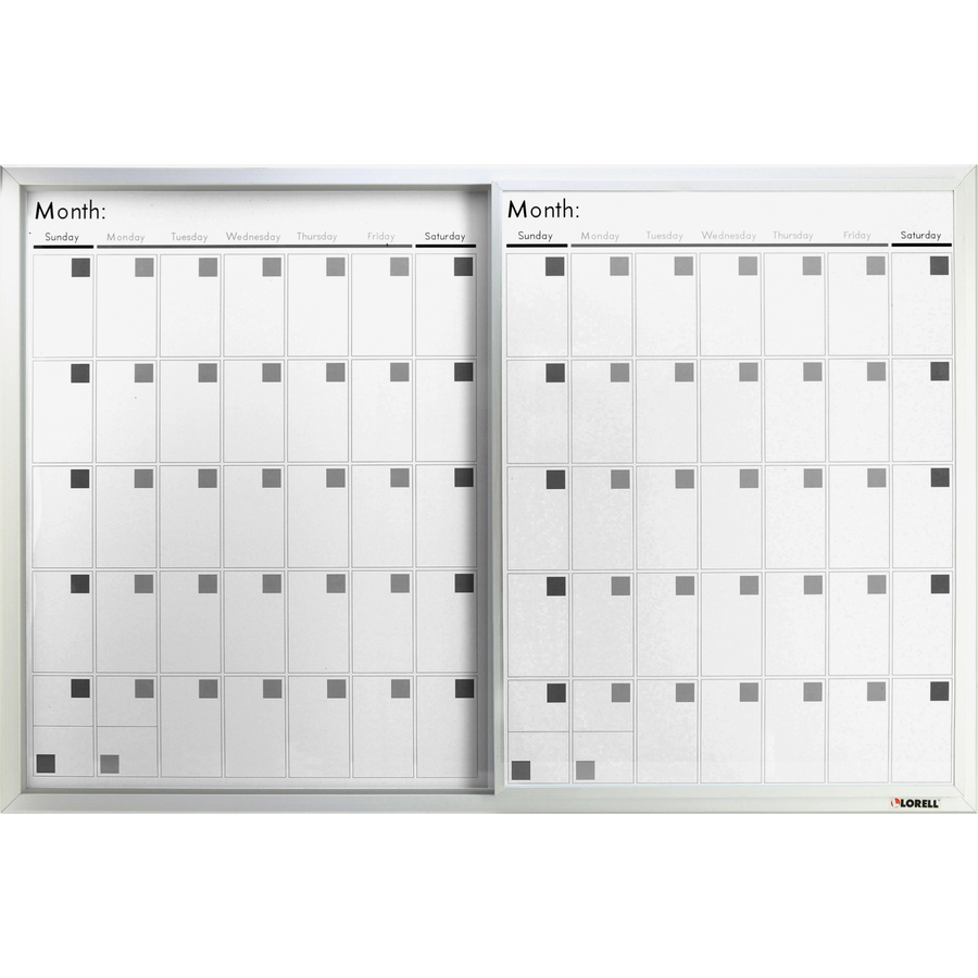 Lorell Magnetic Dry-erase Calendar Board - 36 (3 Ft) Width X 24 (2 Ft) Height - Frost Surface - Rectangle - Mount - 1 Each