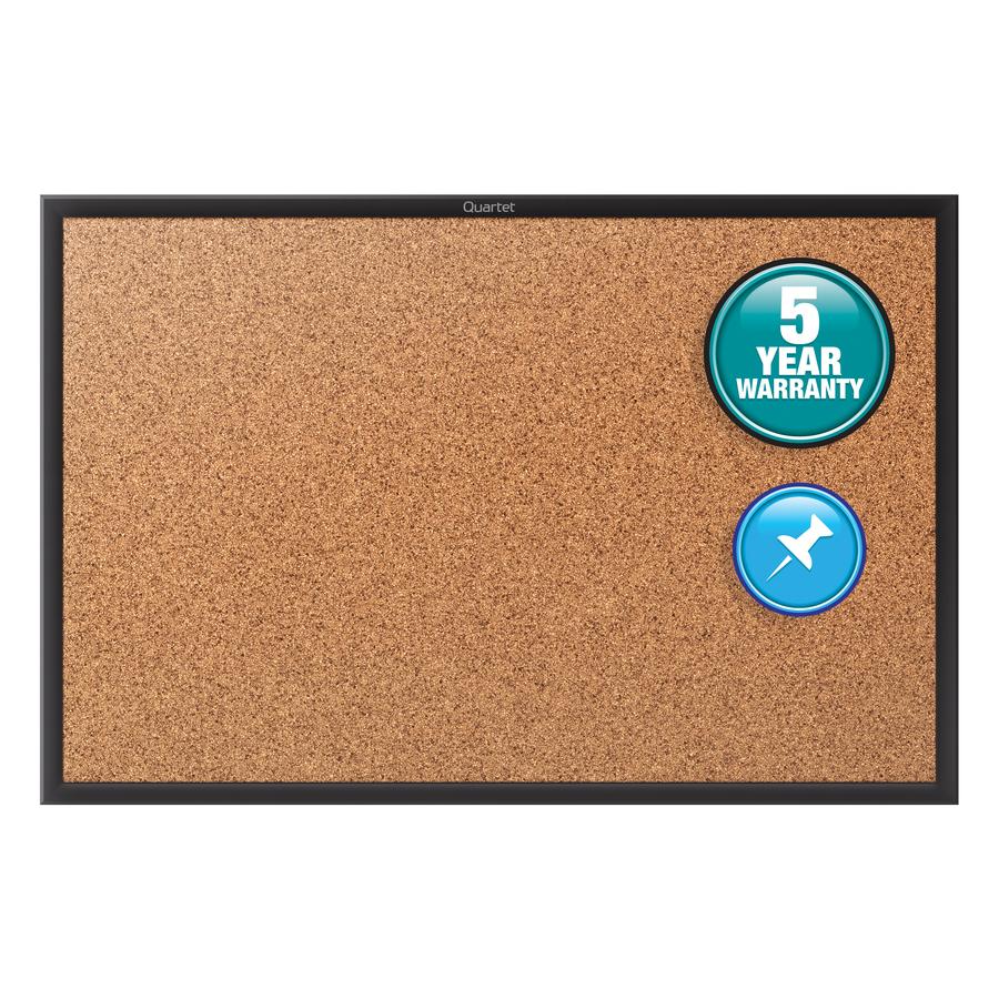 Acco Brands Corporation Quartet® Classic Cork Bulletin Board - 36 Height X 48 Width - Brown Natural Cork Surface - Black Aluminum Frame - 1 / Each