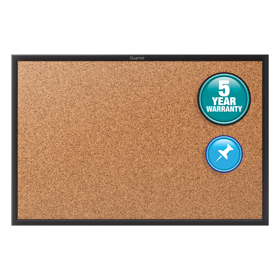 Acco Brands Corporation Quartet® Classic Cork Bulletin Board - 48 Height X 96 Width - Brown Natural Cork Surface - Black Aluminum Frame - 1 / Each