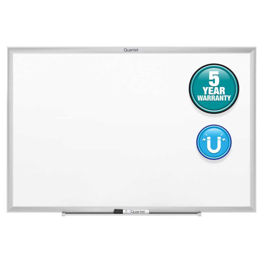 Acco Brands Corporation Quartet® Classic Magnetic Whiteboard - 48 (4 Ft) Width X 36 (3 Ft) Height - White Painted Steel Surface - Silver Aluminum Frame - Horizontal/vertical - 1 Each
