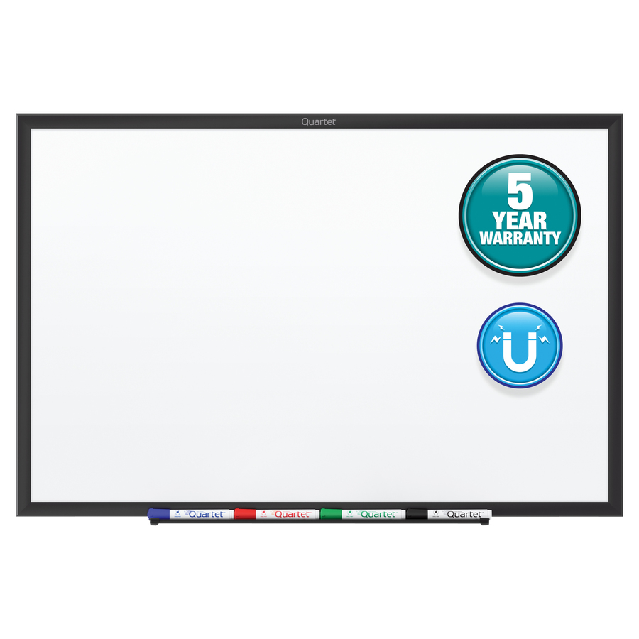 Acco Brands Corporation Quartet® Classic Magnetic Whiteboard - 72 (6 Ft) Width X 48 (4 Ft) Height - White Painted Steel Surface - Black Aluminum Frame - Horizontal/vertical - 1 Each - Taa Compliant