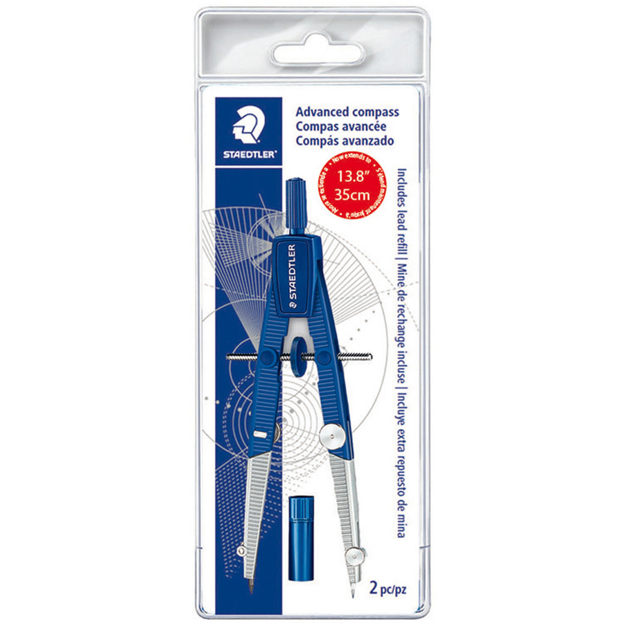 Staedtler Mars Gmbh & Co. Staedtler 2-piece Advanced Student Compass - Metal, Plastic - Blue, Silver