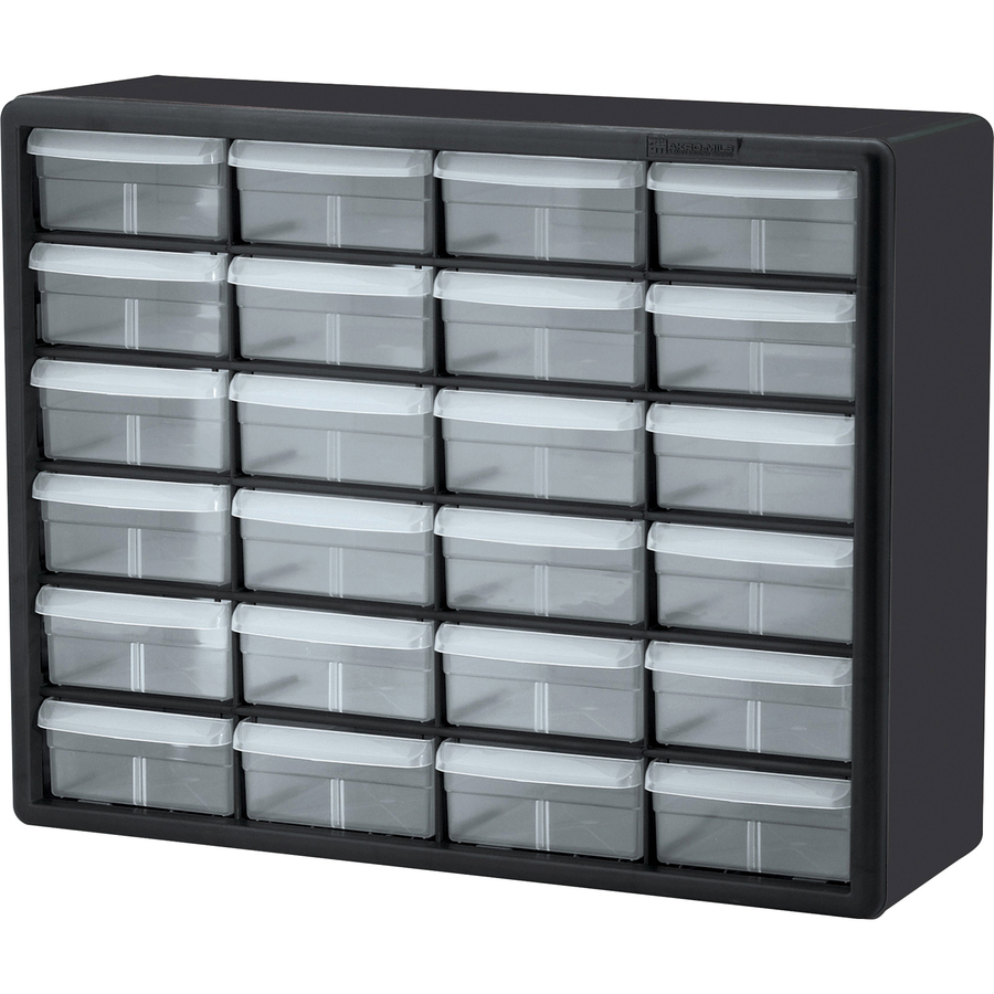 Image for Akro-mils / Myers Industries, Inc Akro-mils 24-drawer Plastic Storage Cabinet - 24 Drawer(S) - 15.8 Height X 6.4 Depth - Floor, Wall Mountable - Black, Clear - Plastic, Polymer - 1EACH