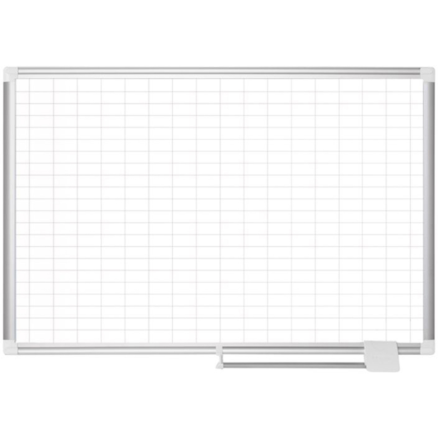 Bi-silque S.a Mastervision 2 Grid Magnetic Gold Ultra Board Kit - Business - White, Silver - Aluminum, Lacquered Steel - Magnetic, Dry Erase Surface, Marker Tray, Mountable