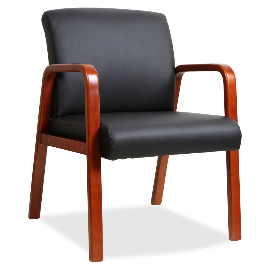Lorell Black Leather Wood Frame Guest Chair - Mac Papers Inc
