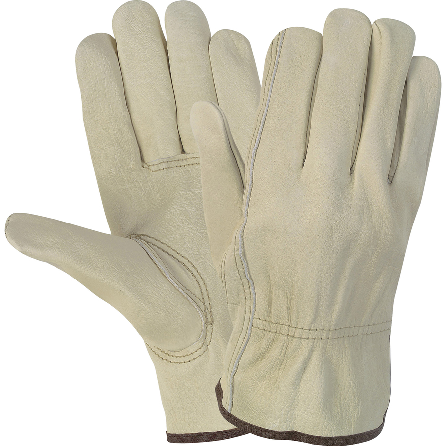 Mcr Safety Durable Cowhide Leather Work Gloves - Large Size - Cowhide Leather - Cream - Durable, Comfortable, Flexible - For Construction - 1 Pair