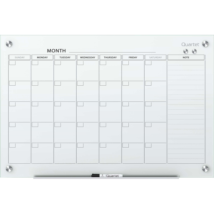 Acco Brands Corporation Quartet Infinity Glass Magnetic Calendar Board - Monthly, Daily - 1 Month - White - Tempered Glass - Magnetic, Durable, Stain Resistant, Ghost Resistant, Scratch Resistant, Dent Resistant, Dry Erase Surface, Notes Area
