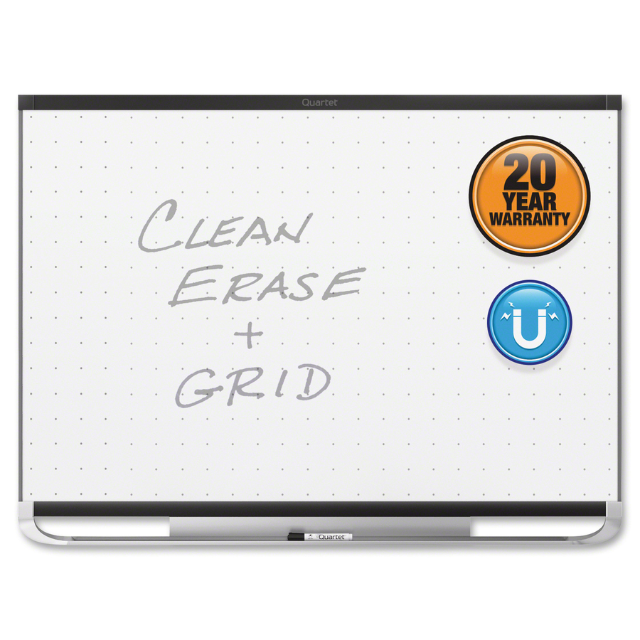Acco Brands Corporation Quartet® Prestige® 2 Total Erase®magnetic Whiteboard, 3 X 2, Black Aluminum Frame - 36 (3 Ft) Width X 24 (2 Ft) Height - White Magnetic Surface - Black Aluminum Frame - Horizontal - 1 Each