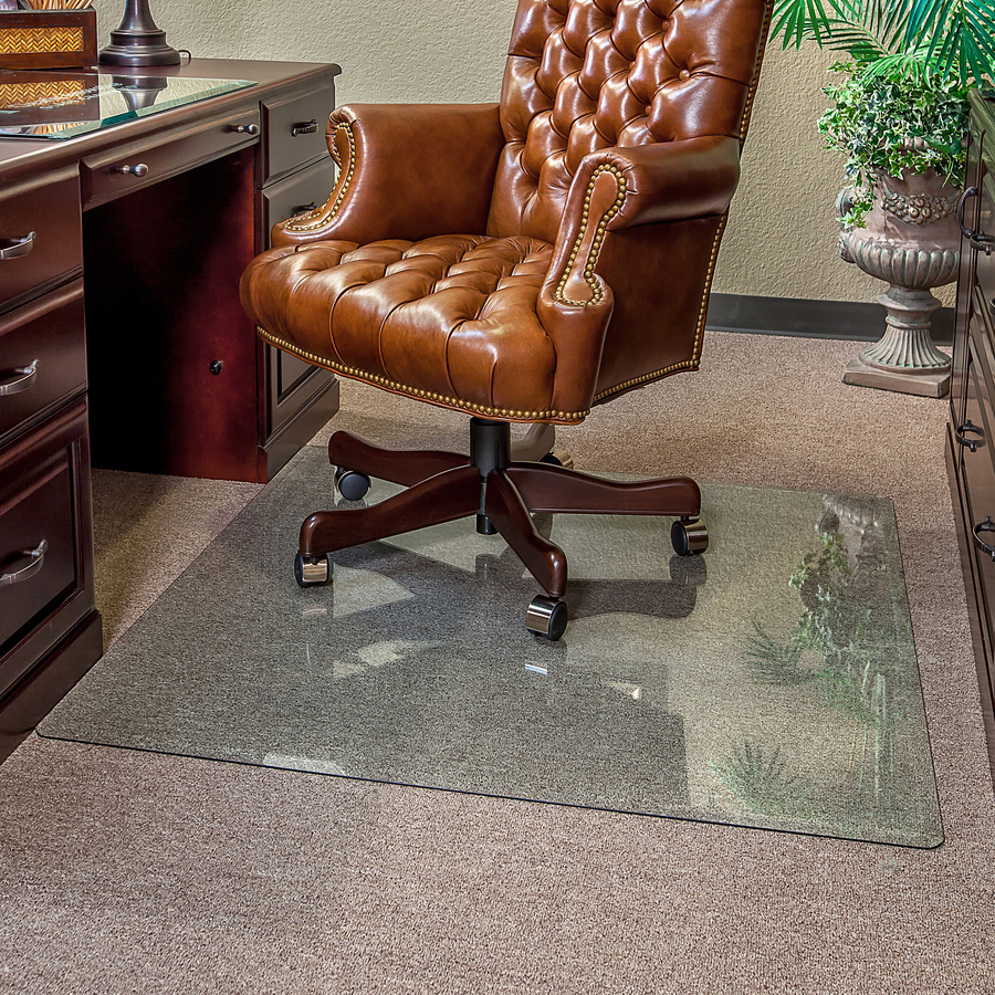 Clearly Innovative Executive Chair Mat 40 X 60 Clear Length Width Rectangle Tempered Glass