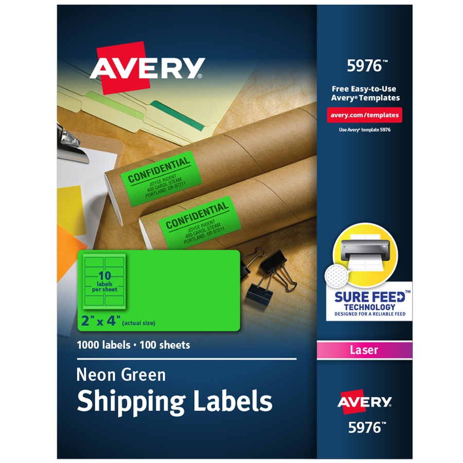avery neon shipping labels servmart