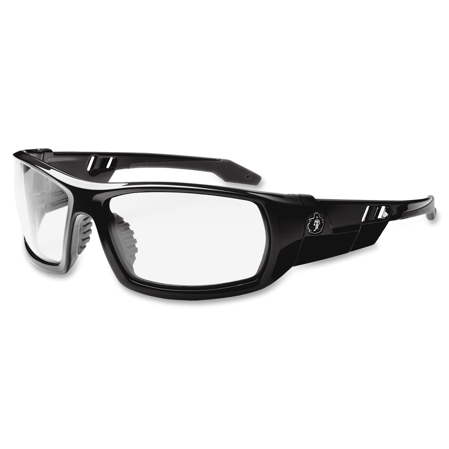 Tenacious Holdings, Inc Ergodyne Skullerz Odin Clear Lens Safety Glasses - Durable, Flexible, Non-slip, Scratch Resistant, Anti-fog - Ultraviolet Protection - Nylon Frame, Polycarbonate Temple - Black - 1 Each