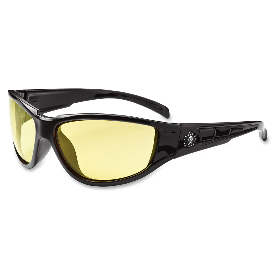 Tenacious Holdings, Inc Ergodyne Njord Yellow Lens Safety Glasses - Durable, Flexible, Scratch Resistant - Ultraviolet Protection - Polycarbonate Lens, Nylon Frame, Polycarbonate Temple - Black - 1 Each