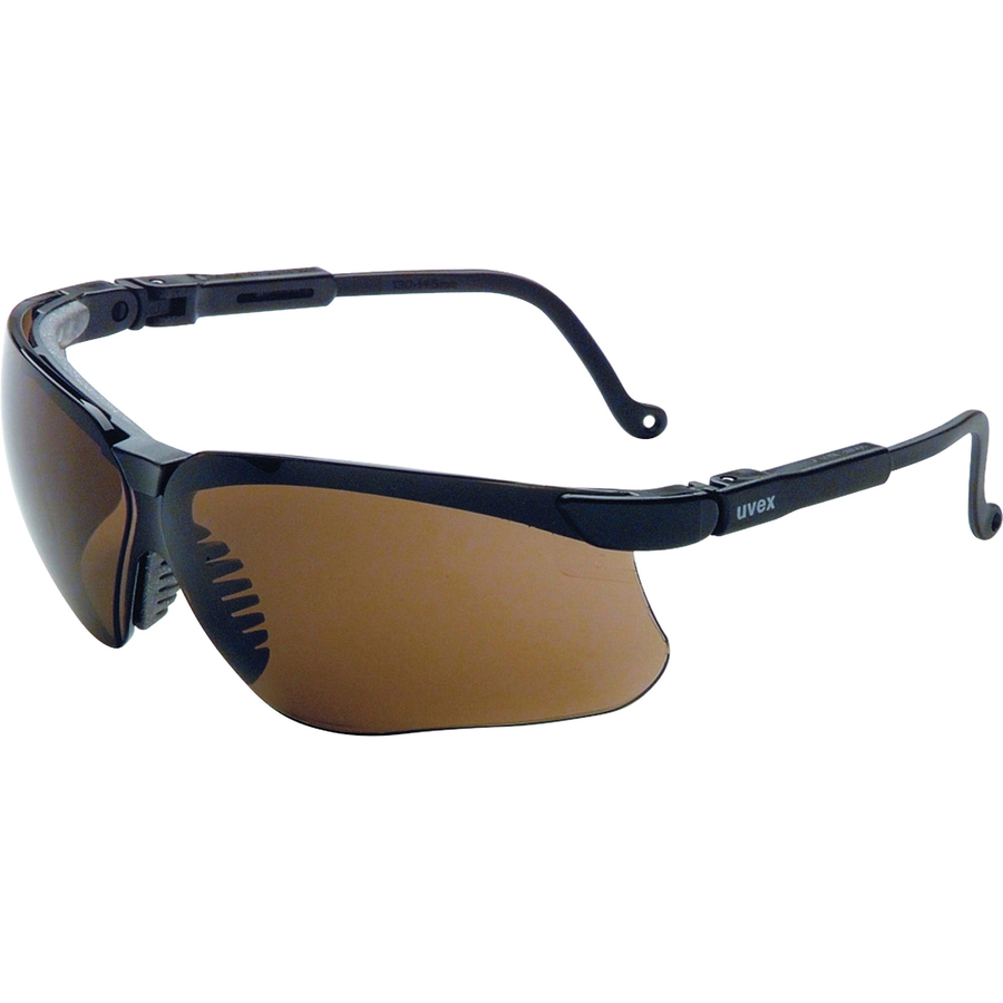 Sperian Protection Uvex Safety Wraparound Safety Eyewear - Flexible, Wraparound Lens, Scratch Resistant, Comfortable, Adjustable Temple - Polycarbonate Lens, Polycarbonate Frame, Nylon Temple - Espresso, Black - 1 Each