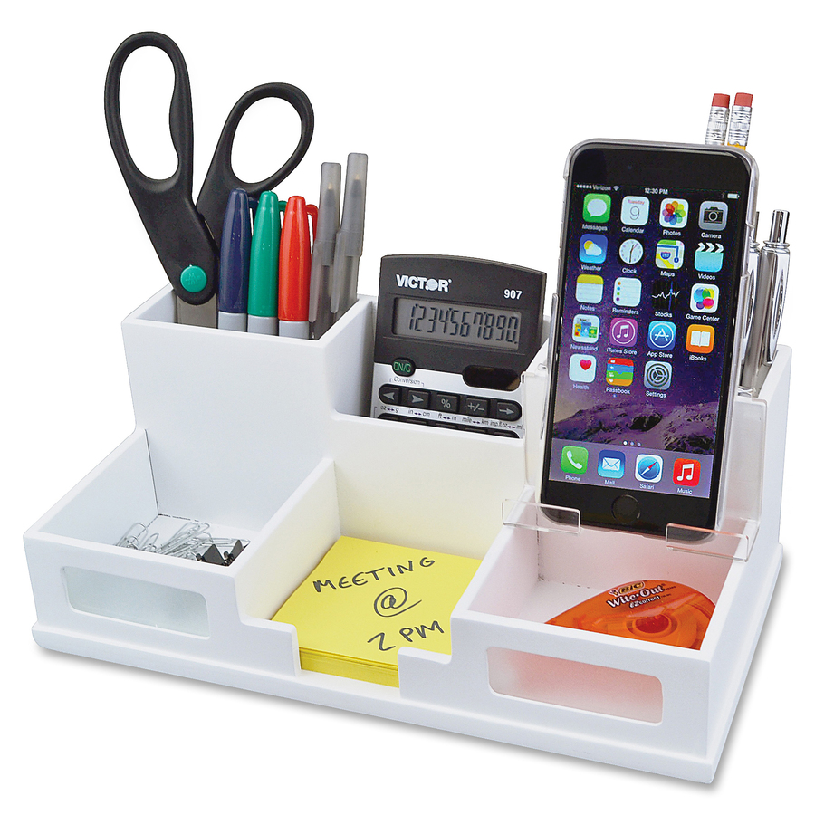Victor w9525 pure white desk organizer with smart phone - Over the desk organizer ...