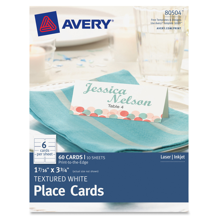 Avery Tent Card Avery Tent Card - 3.75u0026quot; x 1.44u0026quot; - Textured - 60 / Pack ...