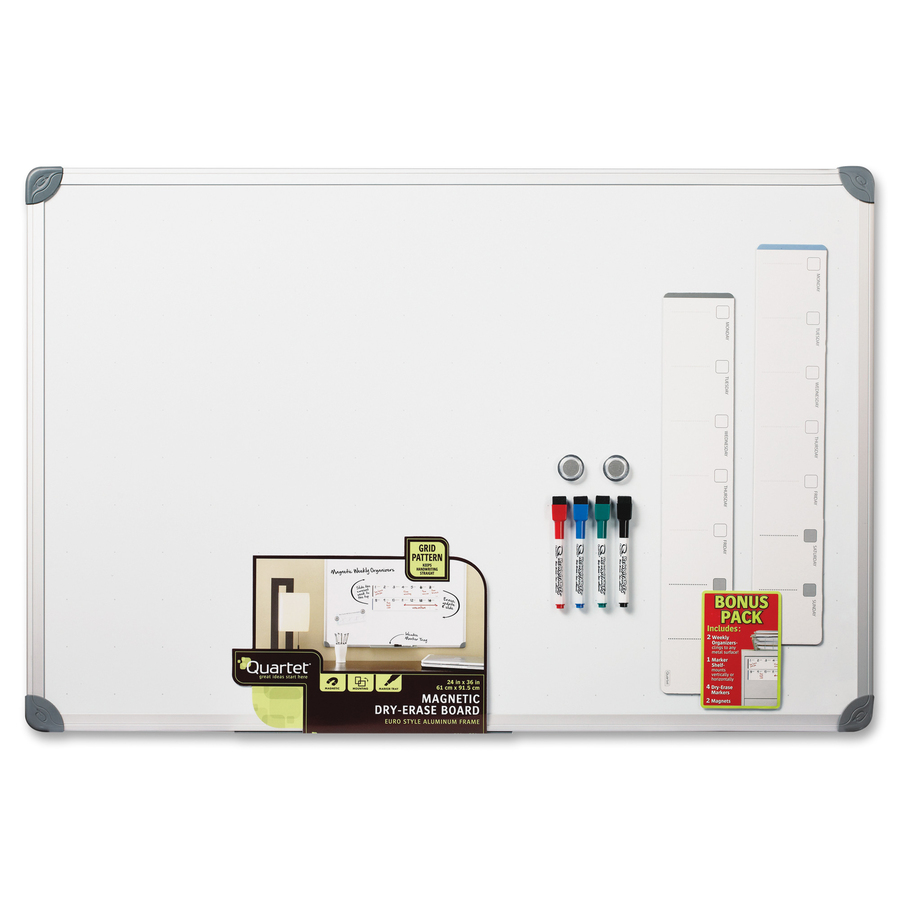 Acco Brands Corporation Quartet Euro Style Magnetic Dry-erase Board Set - Aluminum Aluminum Frame - Mount - 1 Each
