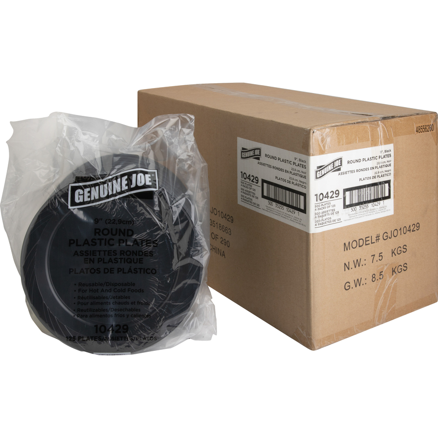 ... Plastic Black Plates GJO10429CT · Original ...  sc 1 st  Tierney Office Products & Genuine Joe Round Plastic Black Plates - Tierney Office Products