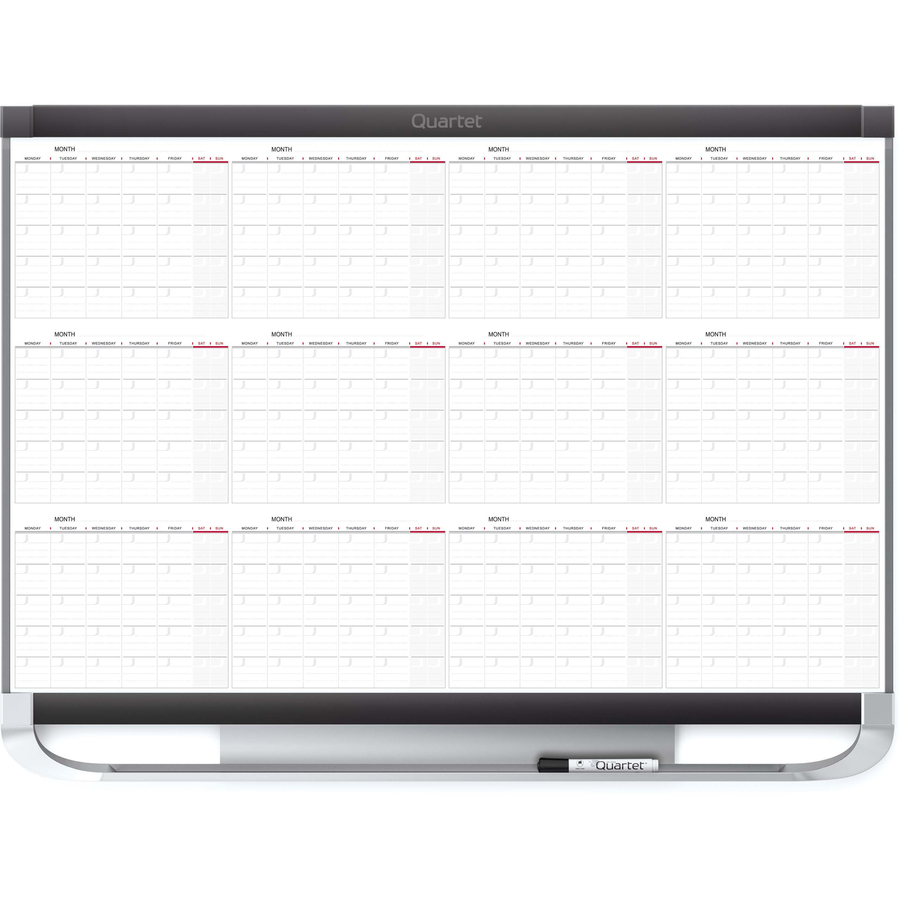 Acco Brands Corporation Quartet® Prestige® 2 Magnetic Twelve Month Calendar Board, 3 X 2, Total Erase® Surface - Monthly - 1 Year - White, Graphite - Steel - Magnetic, Ghost Resistant, Stain Resistant, Durable, Marker Tray, Mountable