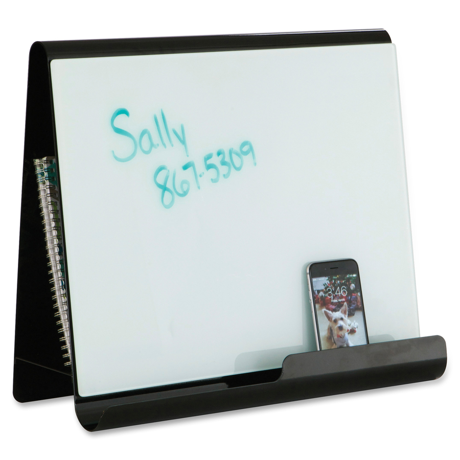 Safco Products Safco Wave Whiteboard Holder - White Steel Surface - Black Frame - Desktop - 1 Each