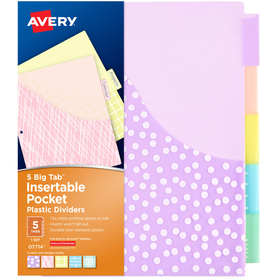 Avery big tab pocket plastic insertable dividers student designs original pronofoot35fo Images