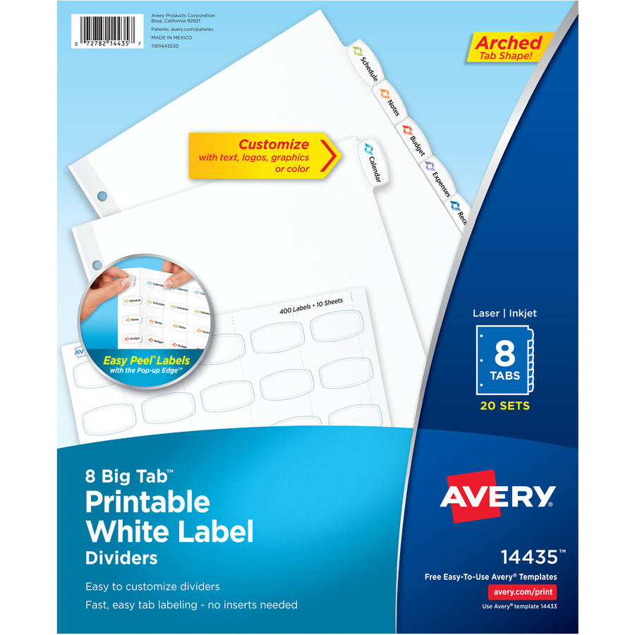 Avery big tab white label tab dividers supplygeekscom for Avery 3 tab dividers