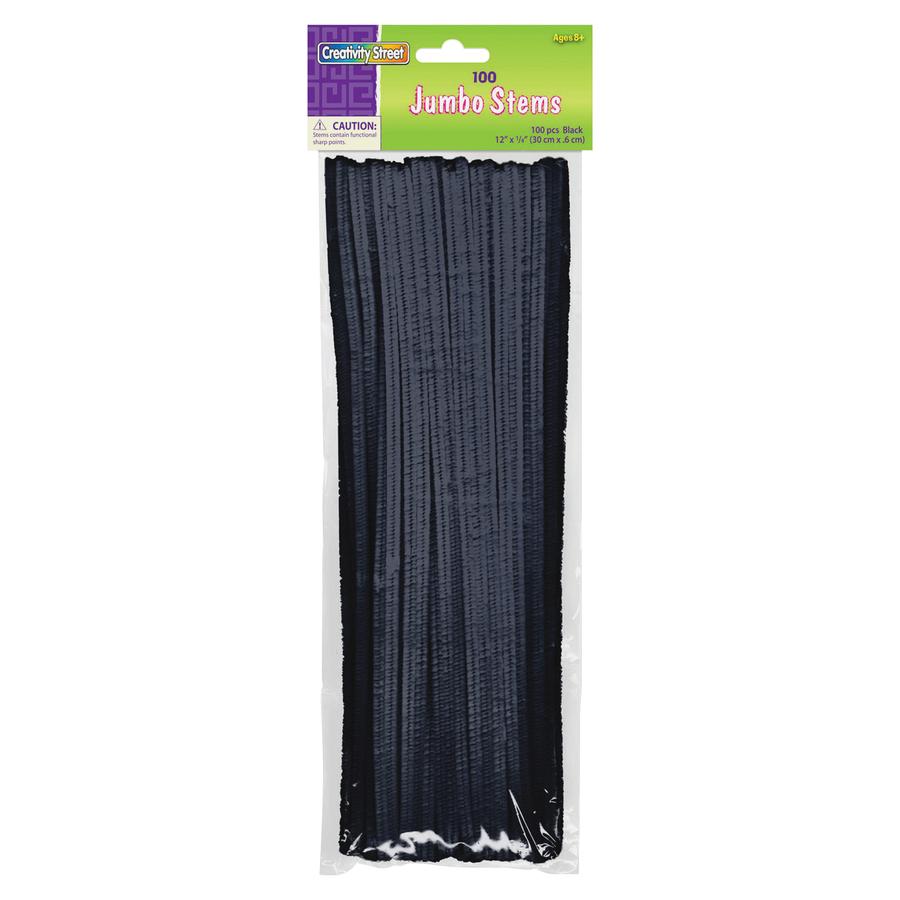 Pacon Corporation Creativity Street Jumbo Bendable Stems - 12 X 0.2 - 600 / Bag - Black