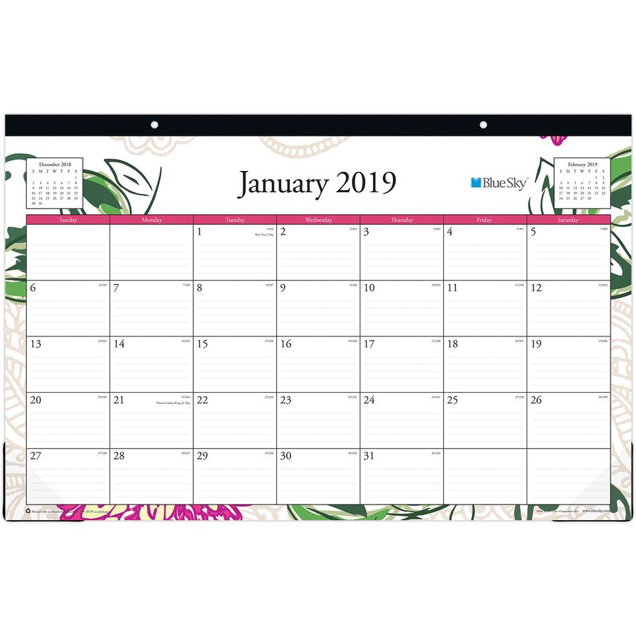 Blue Sky Dahlia Collection Desk Calendar Pad
