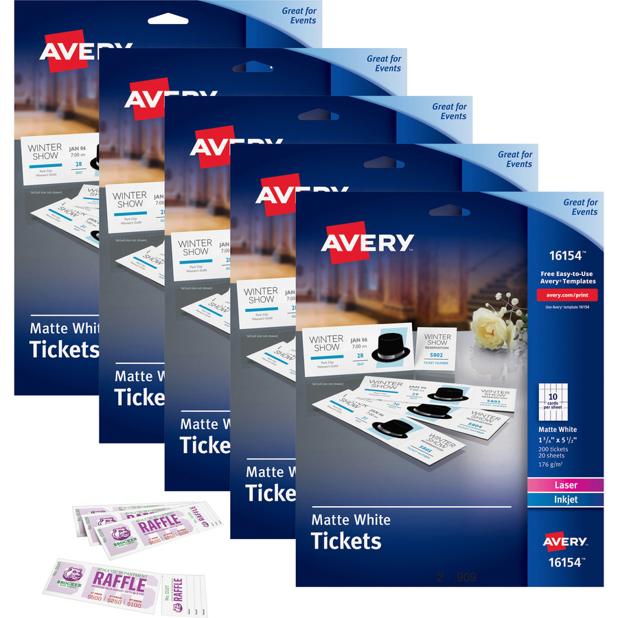 graphic regarding Printable Tickets With Tear Away Stubs identify Avery® Printable Tickets With Tear-absent Stubs - 1 3/4 Width X 5 1/2 Period - Laser, Inkjet - White - 20 / Sheet - 1000 / Carton