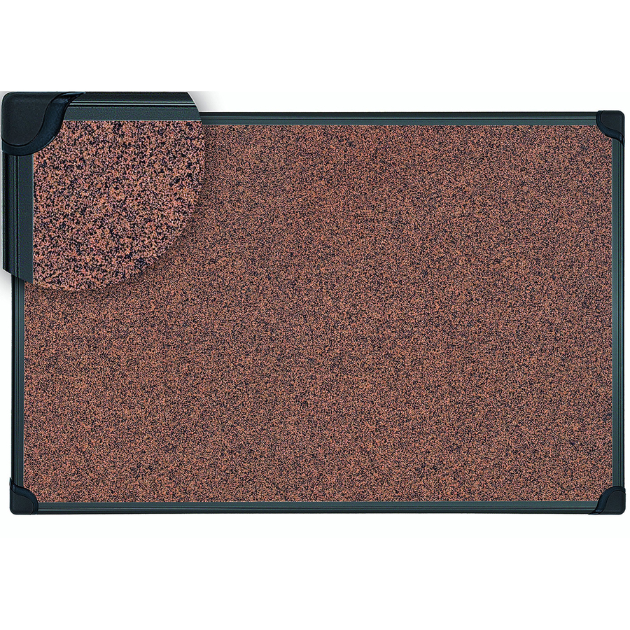 Bi-silque S.a Mastervision Techcork Board - 36 Height X 24 Width - Brown Rubber Surface - Self-healing - Black Aluminum Frame - 1 Each