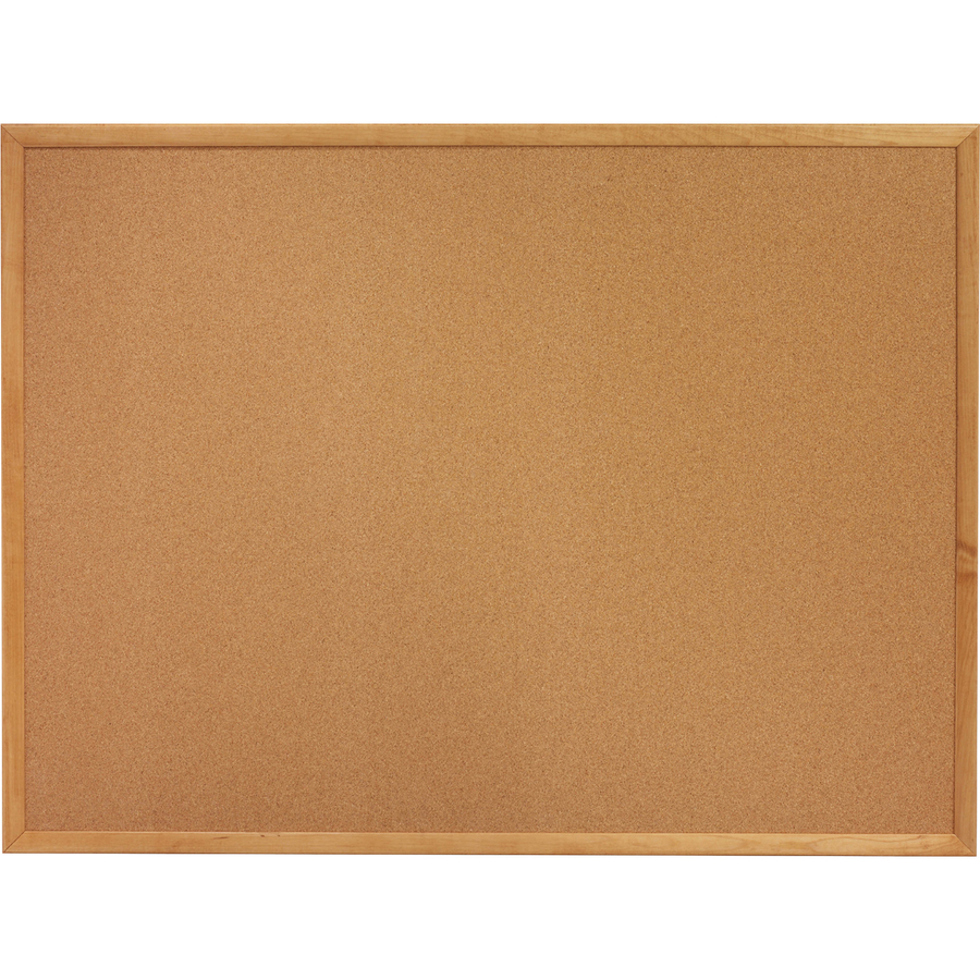 Lorell Oak Wood Frame Cork Board - 24 Height X 36 Width - Cork Surface - Long Lasting, Warp Resistant - Brown Oak Frame - 1 Each