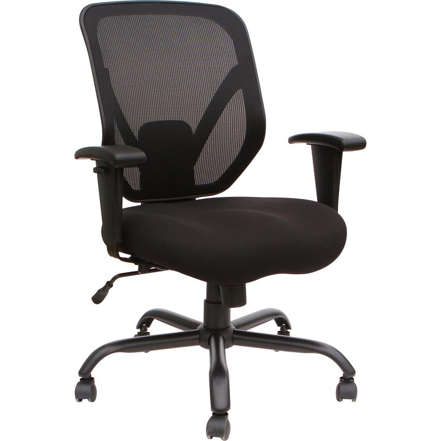 Lorell Soho Big & Tall Mesh Back Chair - Fabric Black Seat - Black Back - 5-star Base - 29.5 Length X 29.5 Width X 42.1 Height