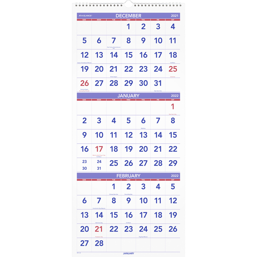 At-A-Glance 3 Month Reference Wall Calendar - Servmart
